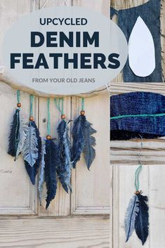 Don't throw away your old jeans, use them to make this gorgeous denim feather wall decor. It is so easy to make these denim feathers and no-sewing involved. craft craft diy craft for kids craft no sew craft to sale Jean Crafts, Denim Crafts, Upcycled Crafts, Diy And Crafts, Kids Crafts, Arts And Crafts, No Sew Crafts, Etsy Crafts, Repurposed