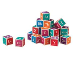 Periodic Table Blocks: It's Elementary  Perfect for the young scientist, these cubes are literal building blocks for an education in chemistry. The set includes 20 six-sided colored blocks that contain the 118 elements found on the periodic table. The six sides contain a unique element's name, atomic number and symbol in bright blue, purple, green, red, orange or pink.