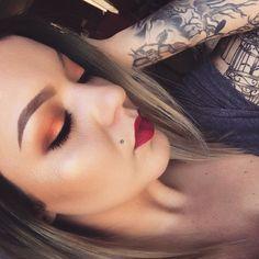 Mac Melon Pigment Mac Darkside Lipstick & Rebel Makeup by BeLoved Hair & Makeup  https://instagram.com/lizbeth_belovedmua/