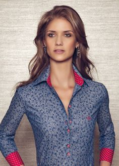 camisa dudalina - Pesquisa Google Summer Work Outfits, Office Outfits, Pretty Shirts, Cool Shirts, Modest Fashion, Fashion Outfits, Summer Blouses, Denim Top, Fashion Images