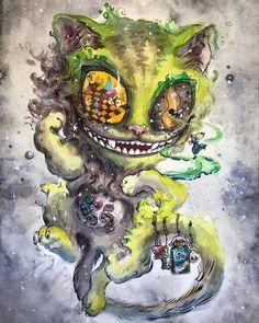 Cheshire cat watercolor painting - Lewis Carroll decor Original artwork Wonderland art Unsual wall d Alice In Wonderland Fanart, Alice And Wonderland Tattoos, Cheshire Cat Alice In Wonderland, Watercolor Cat, Watercolor Paintings, Lewis Carroll, Fall Canvas Painting, Arte Lowbrow, Chesire Cat