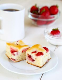 Gluten Free Strawberry Breakfast Cake- thus came out great with rice flour! A refreshing treat!