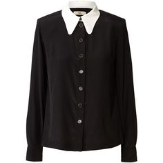 Orla Kiely Solid Silk Crepe Blouse ($150) ❤ liked on Polyvore featuring tops, blouses, shirts, long sleeves, black, black button down blouse, black button up blouse, button down shirt, black long sleeve blouse y long sleeve button up shirts