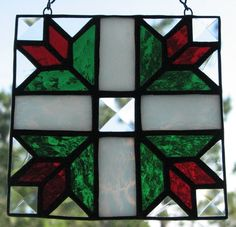 Stained glass tulip quilt square
