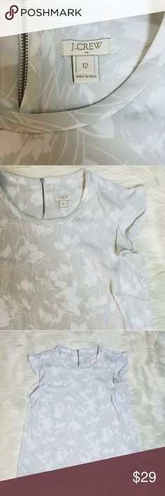 J. Crew Factory Printed Flutter Sleeve Top J. Crew Factory Printed Flutter Sleeve Top  Gray and white floral pattern  Decorative and functional 4 inch zipper on the back   Size 12 J. Crew Factory Tops Blouses