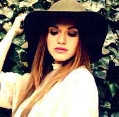 Pink Lips, Floppy Hat in Olive, Straight Hair, Dark Eyeshadow; Holland Roden.