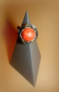 http://megasilver.pl/Pierscionek-p299 #ring #metalwork #handmade #orange #agate #stone #jewelry #jewellery