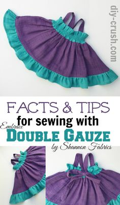 We love cute dresses for little girls! You'll like this sweet Girls' Ruffle Bow Dress made in our #Embrace double gauze 100% cotton - in Amethyst and Teal - http://www.shannonfabrics.com/embrace/cotton-solids ...Sewing pattern and tips for sewing with Embrace - by @whimsycouture   and @DIYCrush - see it on our blog! http://shannonfabrics.com/blog/2016/04/25/embrace-double-gauze-girls-dress/  #Embracedoublegauze