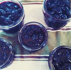 Blueberry Jam with a spruce tip jelly boost 2 1/4 pounds blueberries 2 1/2 slightly rounded cups of sugar 1/4 cup fresh lemon juice 3/4 cup spruce tip jelly