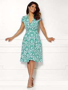 Shop Eva Mendes Collection - Marina Wrap Dress - Print . Find your perfect size online at the best price at New York & Company.