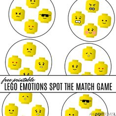 LEGO emotions activities for kids: free printable spot and match game - Education and lifestyle Emotions Game, Teaching Emotions, Emotions Activities, Social Skills Activities, Teaching Social Skills, Social Games, Educational Activities For Kids, Counseling Activities, Autism Activities