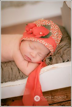 Sweet orange baby bonnet ;)