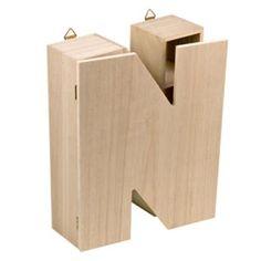 Armaritos letras y números : Letra N en madera natural