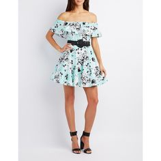 Charlotte Russe Floral Ruffle-Trim Off-The-Shoulder Dress ($37) ❤ liked on Polyvore featuring dresses, aqua combo, floral a line dress, ruffled dresses, keyhole dress, aqua blue dress and off shoulder floral dress