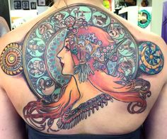 Tattoos inspired by alphonse mucha - tattoo ideas, artists and models Ink Tattoo, Tattoo You, Body Art Tattoos, Sleeve Tattoos, Cool Tattoos, Tattoo Baby, Tatoos, Art Nouveau Tattoo, Tattoo Artists Near Me