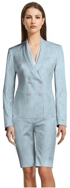 Bermuda suits will keep you cool in the warmest temperatures! Made to fit your measurements Light Blue Suit, Beige Shorts, Short Suit, Tailored Suits, Summer Wardrobe, Suits For Women, Custom Made, Bermuda Shorts, Shirt Dress