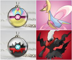 Proudly display your favorite Pokemon's pokeball! Pokeball designs based on Cresselia, the Lunar Pokemon and Darkrai, the Pitch-Black Pokemon, the two pokemon of the Lunar Duo. Beautiful nerdy jewelry accessories that make the best gift for nerds and geeks! Size measures 0.8 inches/22mm Ready to wear with chain (20 inches/50cm) Arrives in an adorable organza jewelry bag Nickel free silver plated