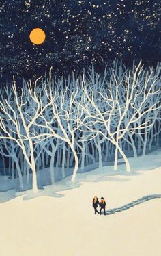 If on a Winter's Night Young Lover's. by Paul Sheaffer If on a Winter's Night Young Lover's. by Paul Sheaffer Illustration Inspiration, Winter Illustration, Art Et Illustration, Inspiration Art, Design Illustrations, Winter Night, Winter Art, Winter Moon, Guache