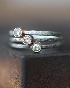 Champagne Diamond Stacking Rings- etsy