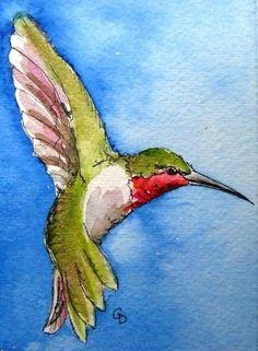 Hummingbird - ACEO bird art print by katina