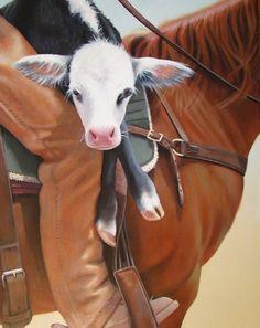 Gemälde-Acryl-Christina Ramos: Hitchin a Ride – Verkauft – Neuta Tattoo Modelle Christina Ramos, Original Art, Original Paintings, Cow Art, Ranch Style, Wildlife, Horses, Fine Art, Illustration