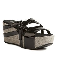 Look what I found on #zulily! Black Double-Strap Leather Wedge Sandal by Antelope #zulilyfinds