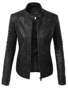 Give your outfit a trendy edgy look with this one of a kind quilted faux leather zip up moto jacket with pockets. Wear it over a basic t-shirt with distressed denim jeans for a casual day out. This moto jacket is a must have for all seasons. Feature LINING: 100% Polyester; SHELL: 100% PU Durable, buttery-soft faux leather material / Fully-lined Quilted pattern design Zip up pockets for an edgy look Wash low temperature / Low iron / Do not beach / Dry clean only / Do n...