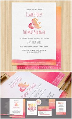 Pink and orange invites. dip dye  - arty save the date cards