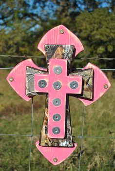 Pink and Real Tree Camo Wall Cross. $38.00, via Etsy.