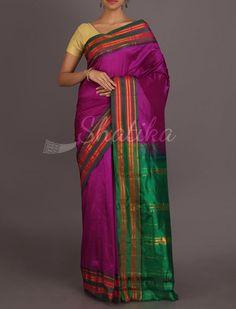 Plush Purple And Fresh Green Traditional Border Pure #NarayanpetSilkSaree