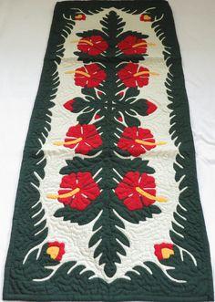 Hawaiian quilt table runner 100% hand quilted/hand appliqued Hawaiiana: Home & Kitchen.  Amazon.com
