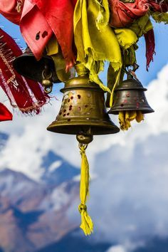 "Could also line prayer flags with bells or lights : ""Heavens Bells"" Monastery in Tibet | by sonal Karkera | Tassels , Pom poms & Bells | Pinterest | Tibet, Hea…"