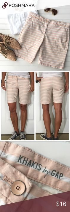 "Gap Boyfriend Roll-Up Shorts Gap Boyfriend Roll-Up Shorts | size 4; 100% cotton . Blush & white stripe Bermuda short that can be rolled up or left long | flat waistband with button; slant pockets at hips; welt pockets on rear | a fresh take on khaki shorts for summer!  EUC, no flaws . 15"" waist 18.5"" hips 8.5"" rise 9"" inseam   #gapstyle #stripes #shopsmall #shopmystyle #shopmywardrobe #summerfashion #fashion #forsale #shopmycloset #clothingforsale  #thelookforless #shopwardrobewednesday…"