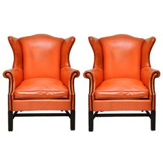 Vintage Orange Leather Wing Chair   From a unique collection of antique and modern wingback chairs at http://www.1stdibs.com/furniture/seating/wingback-chairs/