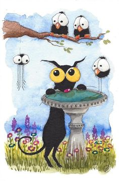 Original watercolor painting whimsical Stressie Cat spider crows bird bath #IllustrationArt