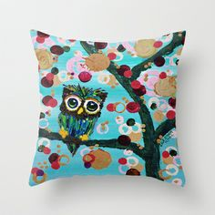 :: Gemmy Owl Loves Jewel Trees :: Throw Pillow by GaleStorm Artworks - $20.00