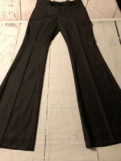 da1b1ae58e74 Gucci Women's Pants Brown Flare Pinstripe Made In Italy Size 42 Or 8 X 34 |  eBay