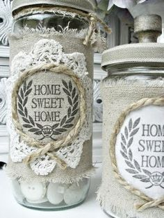 altered jars for buttons Shabby Chic Crafts, Vintage Crafts, Mason Jar Crafts, Bottle Crafts, Mason Jars, Decoration Shabby, Crafts To Make, Diy Crafts, Jar Art