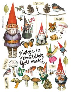 Woodland Gnome Digital Collage Sheet by 4johnsongirls on Etsy