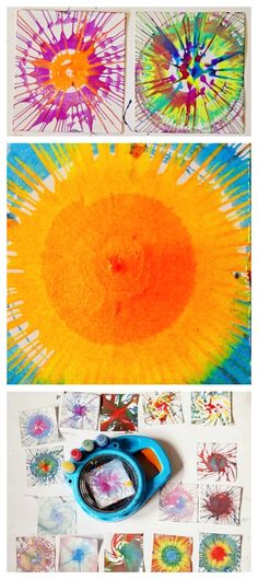 Spin Painting with Kids - always a big hit with the kids and a fun activity to do in a group - love how these turned out!
