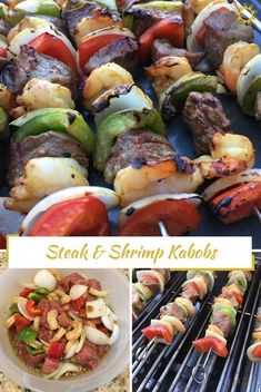 Steak and shrimp kabobs are perfect for a delicious, customizable meal that you can cook on the grill. Ideal for those summer nights spent outside together. Shrimp Kabob Recipes, Steak Kabobs, Shrimp Skewers, Marinade For Shrimp Kabobs, Shrimp Meals, Veggie Kabobs, Chicken Kabobs, Seafood Recipes, Kabobs