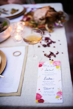 winter garden party menu + rose-infused cocktails