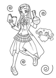 Pretty cure anime coloring pages for kids, printable free