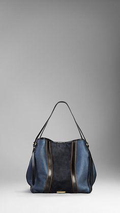 Medium Metallic Leather Colour Block Tote Bag   Burberry