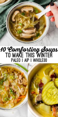 10 Comforting Soups to Make This December (Paleo, AIP & - Unbound Wellness These nourishing and comforting soups are perfect for warming you up on those cold winter evenings! They're paleo, AIP, and Diet Recipes, Cooking Recipes, Healthy Recipes, Auto Immune Paleo Recipes, Whole30 Soup Recipes, Cooking Games, Crockpot Recipes, Recipies, Paleo Power Meals