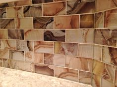 Kitchen Backsplash Installation by M.A.K. Construction Services- Elida Ceramica Volcanic Essence Glass Mosaic Subway Wall Tile