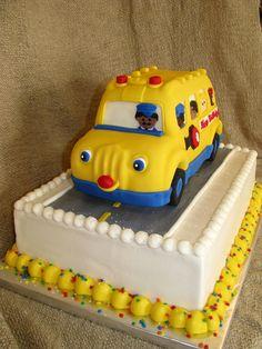 School Bus Birthday Cake vanilla cake covered with fondant. 2nd Birthday Party Themes, 2 Birthday Cake, Birthday Ideas, Bus Cake, Wheels On The Bus, Cake Cover, Cupcake Cakes, Cupcakes, Themed Cakes