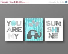 Grey Aqua chevron Nursery art, baby nursery decor, nursery wall art, Kids art, elephant, words, Set of 3, 8x10 Prints You Are My Sunshine