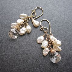 """Keshi Pearl Cluster Earrings 