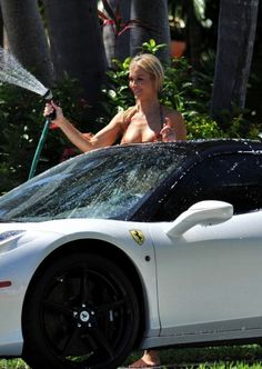 Joanna Krupa washing her white Ferrari 458 Italia
